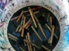 Brushes are seen soaking in water at the Windows of Soul event in the 100 block of Walnut avenue in Trenton on Saturday Oct.17,2015. (Scott Ketterer - The Trentonian)